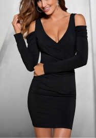 Women's Cold Shoulder Long Sleeve Bodycon Deep V Neck Club Party Mini Dresses