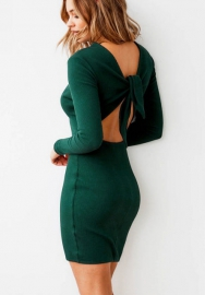 Women's Round Sleeve Long Sleeve Strap Backless Back Bowknot Bodycon Mini Club Dresses