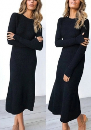 Women's Casual Long Sleeve High Waist Wrap Solid Party Long Maxi Dress
