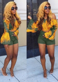 Women's Casual 2 Piece Camouflage Loose Off Shoulder Crop Top Shorts Set