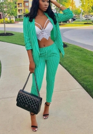 Womens Sexy Striped Long Sleeve Cardigan Jacket Bodycon High Waist Pants 2 Piece Suit Set Clubwear