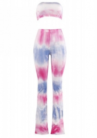 Women's Two-Piece Romper Sexy Tie Dye Print Bandeau Top Flared Bell Bottom Pants Jumpsuits Outfits