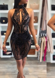 Women's Sexy Sequined Floral Lace Mesh Halter Neck Backless Bodycon Mini Club Dress