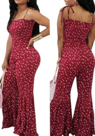 Womens Summer Sleeveless Polka Dot Print Spaghetti Strap Bodycon Wide Leg Bell Pants Jumpsuit Rompers