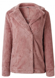 Womens Fleece Casual Open Front Jacket Coat with Pockets Outerwear