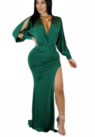 Long Sleeve Deep V-Neck Open Back Grace Maxi Dress With Side Slit For Women