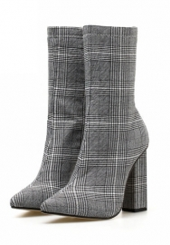 Women's Pointed Toe Stiletto Lattice Ankle Party Boot