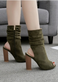 Women's Dressy Splicing Stiletto High Heel Ankle Booties Pointed Toe Faux Suede Back Zipper Short Boots