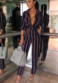 Women's Sexy Deep V Neck Strap Striped Backless Skinny Cold Shoulder Jumpsuits Rompers with Belt