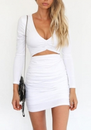 Women Mini Dress Sexy Bodycon Long Sleeves
