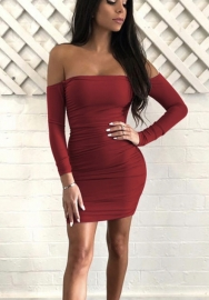 Women's Sexy Off Shoulder Long Sleeve Club Bodycon Tight Short Mini Tunic Dress