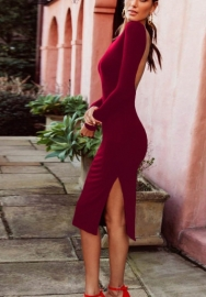 Womens Sexy Round Neck Backless Long Sleeve Bodycon Night Party Midi Dresses