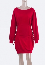 Women's Lace up Front V Neck Long Sleeve Knit Pullover Sweater Mini Dress