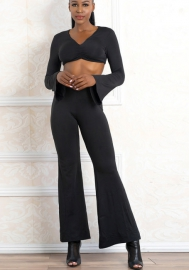 Women Sexy Jumpsuits Off Shoulder Bodycon Long Sleeves Crop Top High Waist Long Pants 2 Pieces Outfits