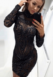 Women's High Neck Sequin Long Sleeve Club Bodycon Party Mini Dress