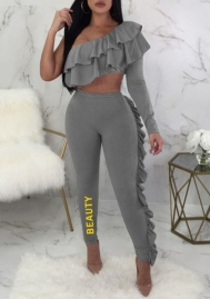 Womens Long Sleeve Crop Top and Bodycon Long Pants Set Ruffle Stripe 2 Piece Outfits Jumpsuit Party Clubwear
