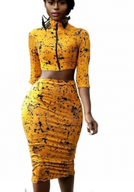 Women Sexy Two Piece Romper Outfits Pull Sleeve Floral Front Zipper Crop Top Short Skirt 2 Piece Set