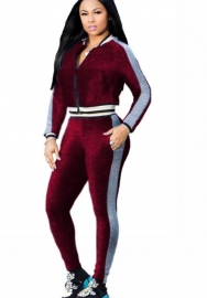 Women's Two Piece Outfits Velvet Long Sleeve Zip up Jacket and Pants Set Tracksuit Sweatsuit Activewear
