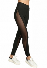 Women's Mesh Panel Side High Waist Leggings Skinny Workout Yoga Pantsvvvvvv