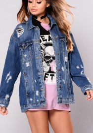 Womens Blue Distressed Button Long Sleeve Denim Jean Jacket Coat with Pockets Regular and Plus Size