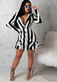 High-end fashion temperament stripes Midi Dress
