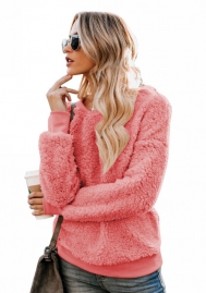 Women's fashion plush sweater with round neck casual style