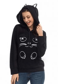 Cat printing hooded pullover Sweater Mix color