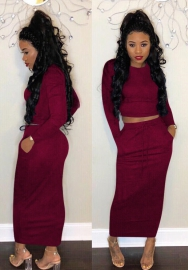 Fashion Long Sleeve Two pcs Long Dress