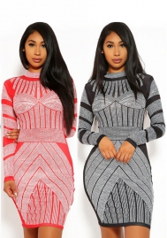 Digital Print Dress Long Sleeves Midi Dress