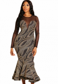 Net Stitching dresses Print Dress with Flounce