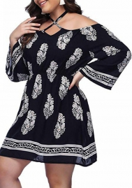 Casual Floral Print Dress Plus Size Dress