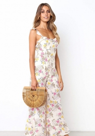 Halter Sleeveless Jumpsuits Flounced straps wide leg pants