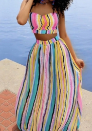 Women's colorful tube dress Maxi Dress Summer Dress