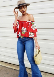 Women's Floral Print One-shoulder top