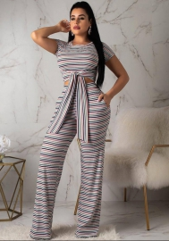 women's summer Striped suit Two pcs set