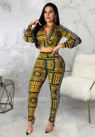 Women's yellow digital print two pcs set