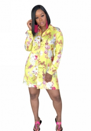 Flower shirt dress long sleeve beautiful print