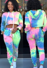 Gradient tie-dyed casual long-sleeved waist hooded sports two-piece suit