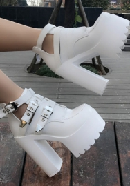 14cm Women's fashion white high heal shoes