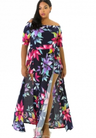 Women's summer floral print dress Jumpsuit with high spilt dress