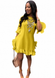 Women's solid color round neck ruffled mid sleeve midi dress summer dress