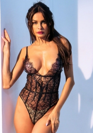Women's sexy deep V lace bottoming jumpsuit