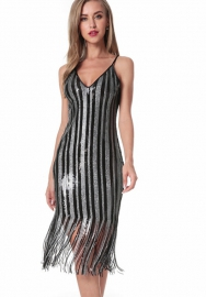 Women's Sequined fringed dress