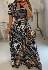 Womens's flower print short-sleeve maxi dress