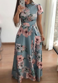 93Womens's flower print short-sleeve maxi dress