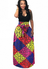 Women's skirt Pleated long skirt with belt