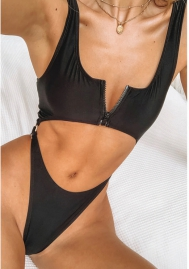 Belly conjoined high waist swimsuit with zipper