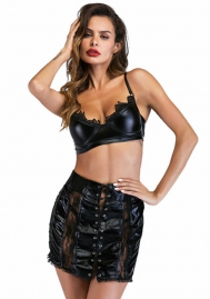 Black lacquer Sexy lingerie imitation Bra Set  leather bra lace hollow skirt(NO T PANT)