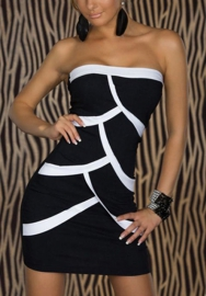 Stripe color matching sexy club dress