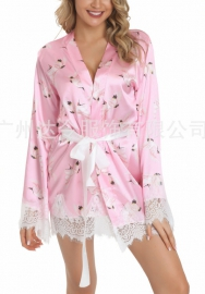 Plus size Nightgown Flamingo silk pajamas